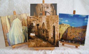 Canvas schilderijtjes op ezel