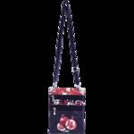 Schoudertasje / Reistasje in zwart/wit met rood en gedecoreerd met Granaatappels