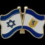 Reversspeld / broche met de vlaggen van Israel en Jeruzalem