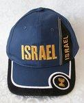 Israel Petje, Baseball Cap Donkerblauw met Zwarte, Witte en Goudkleurige accenten.