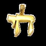 Chai (Leven) hangertje van zilver verguld met geelgoud in strak model van de Israelische ontwerpster Marina