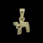 Chai hangertje, klein zilver met glanzend geelgoud verguld Chai (leven) hangertje
