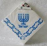 Papieren servetten met Israelische vlag, een Menorah en de Hebreeuwse tekst: Israel
