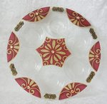 Handgemaakte grote Seder schotel in warm rood/goud dessin uit de collectie van Lily Art