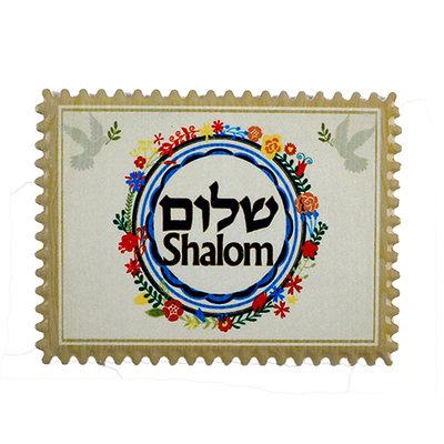 Israel Magneetje van aardewerk met in het Hebreeuws en Engels het woordje Shalom