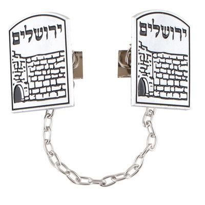 Tallit clip / Talliet clip met een afbeelding van de Kotel (Westelijke Muur) en in het Hebreeuws Jeruzalem
