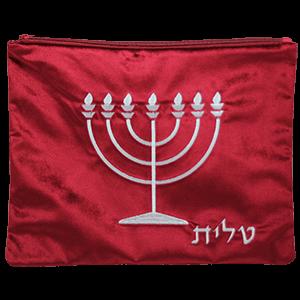 Tallit / Talliet tasje van bordeaux rood fluweel met borduursel van de Menorah en het Hebreeuwse woord Tallit in zilverdraad