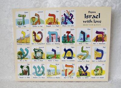 Placemat met het AlefBeth en op de achterkant wat basis Hebreeuwse woorden met Engelse vertaling.