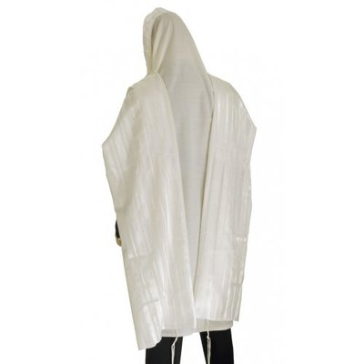 Prachtige grote Tallit (gebedsmantel) 100% wol met ingeweven glanzend witte streep 150 x 200 cm