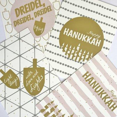 Set van 4 Hebreeuws/Engelse Ansichtkaarten voor Chanoeka / Chanukah van Ahavah design