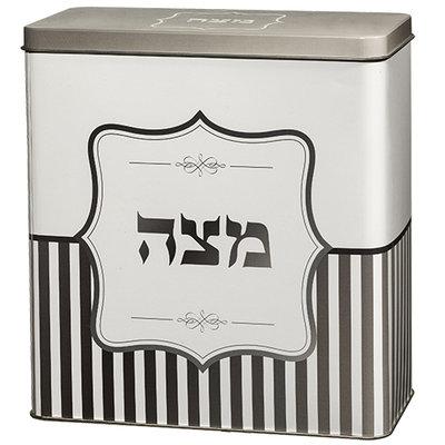 Matze Bewaarblik, mooi blik met wit/zilvergrijze decoratie en in het Hebreeuws het woord Matze