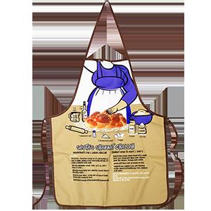 Keukenschort, leuke schort met Savta's (Oma's) Challah (gevlochten Shabbats brood) recept in het Engels