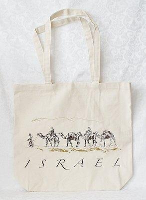 Canvas tas voor allerlei doeleinden met een leuke afbeelding van een karavaan en de tekst Israël