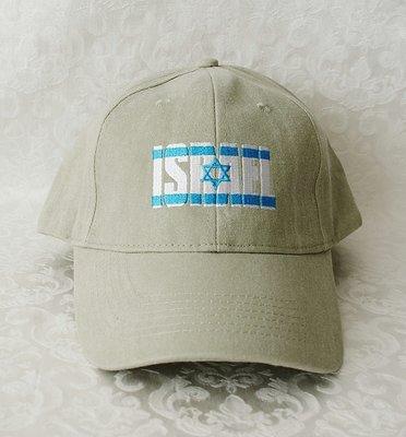 Israel Petje/ Baseball Cap in ecru geborduurd met de Israelische vlag