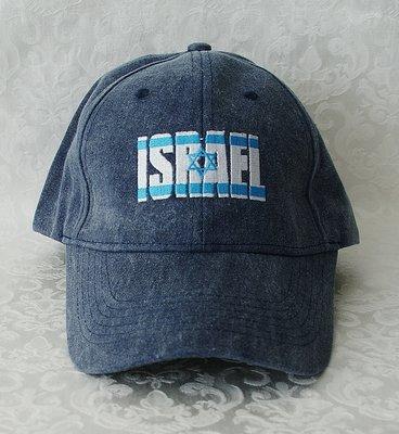 Israel Petje/ Baseball Cap in denim kleur geborduurd met de Israelische vlag