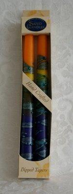 Shabbats kaarsen Blauw/Geel.