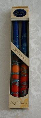 Shabbats kaarsen Blauw/Rood.