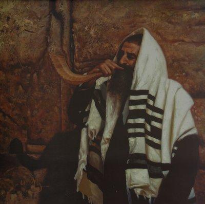 Originele Litho: Man met Tallit en Shofar bij de Muur in Jeruzalem.