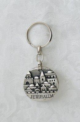 Handgemaakte Sleutelhanger van Yealat Chen met afbeelding van de Oude Stad Jeruzalem.