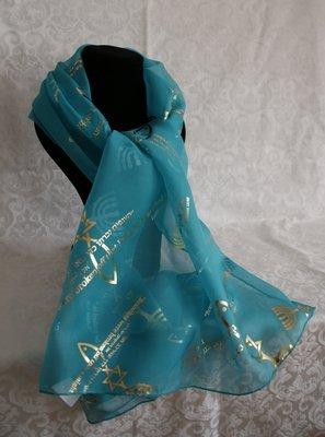 Sjaal uit Israel van aqua blauwe voile bedrukt met Bijbels thema: Het Messiaans Zegel