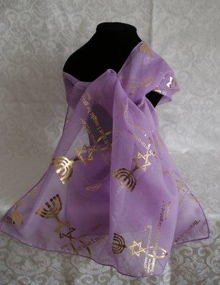 Sjaal uit Israel van lila voile bedrukt met Bijbels thema: Het Messiaans Zegel