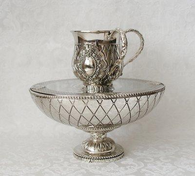 Luxe Maim Achronim set, zwaar verzilverde set voor de rituele handwassing