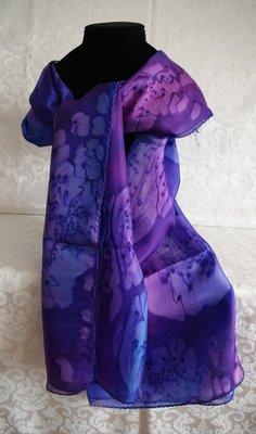 Handgemaakte koningsblauw/paarse puur zijden sjaal uit Israël