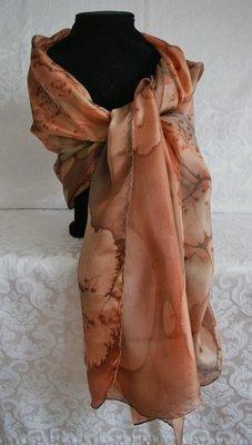 Handgemaakte bruine puur zijden sjaal uit Israel