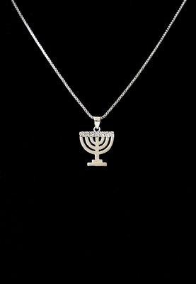 Menorah hangertje, mooi hangertje in wit-goud verguld met 7 kristallen van de Israelische ontwerpster Marina