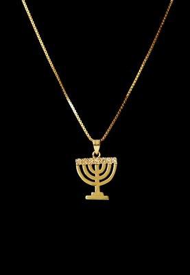 Menorah hangertje, mooi hangertje in geel-goud verguld met 7 kristallen van de Israelische ontwerpster Marina