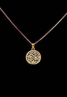 Hangertje met de Hebreeuwse tekst Shema Yisrael (Hoor Israel...) verguld met geel-goud verguld van de Israelische ontwerpster Marina