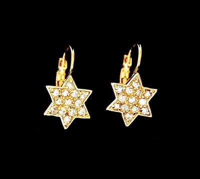 Davidster oorbellen met klip overdekt met kristallen geel-goud verguld van de Israelische ontwerpster Marina