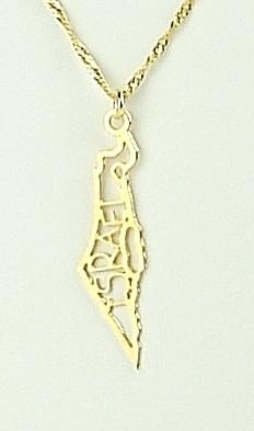 Verguld Hangertje landkaart Israel met de naam Israel aan sierlijk gedraaide ketting van 70cm