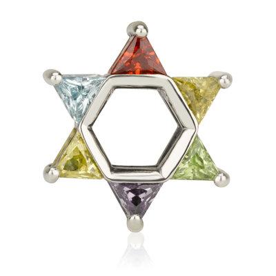 Davidster bedeltje van zilver met in elke punt een verschillende kleur steen, voor alle 12 stammen 1