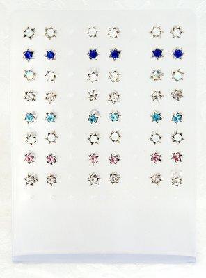 Zilveren Oorknopjes kleine Davidster met kristalletje, leverbaar in verschillende kleuren