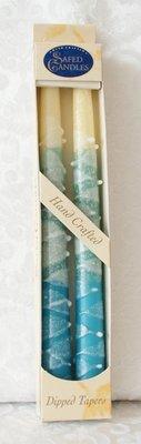 Shabbats kaarsen Frost (Blauw/Gebroken wit)