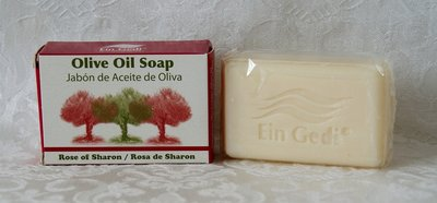 Handgemaakte olijfolie zeep uit de serie Ein Gedi met de geur Rose of Sharon