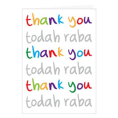 'Todah raba' kaart, hartelijk dank kaart met de tekst in vrolijke kleuren