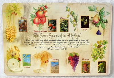 Placemat met de 7 Vruchten die volgens Gods belofte het land Israël zou voortbrengen