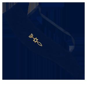 Tas voor Jemenitische Shofar met het Messiaans Zegel, donkerblauw met goudkleurig borduursel