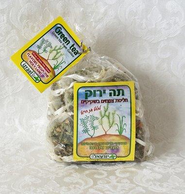 Kruidenthee uit Israël, biologische 'Groene Thee', een rustgevende melange van vers geplukte en gedroogde kruiden van de Golan Hoogvlakte