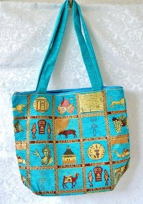 Israel Schoudertas, stevige tas met allerlei afbeeldingen van belangrijke plekken in het Bijbelse land. Verkrijgbaar in 3 kleuren
