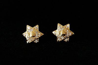 Davidster oorknopjes met kristallen geel-goud verguld van de Israelische ontwerpster Marina
