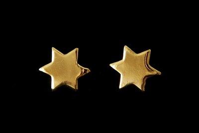 Davidster oorknopjes glanzend geel-goud verguld van de Israelische ontwerpster Marina