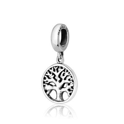 Hangend zilveren open bedeltje met de Levensboom