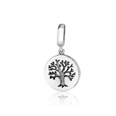 Hangend zilveren bedeltje met ingegraveerde Levensboom