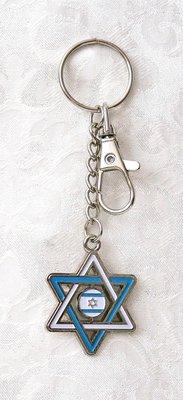 Sleutelhanger, met geëmailleerde Davidster in blauw/witte vlagdecoratie
