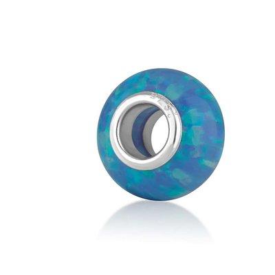 Zilveren bedeltje blauw Opaaltje