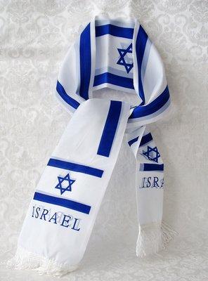 Israel sjaal gemaakt van polyester (vlaggenstof) 14 x 130 cm