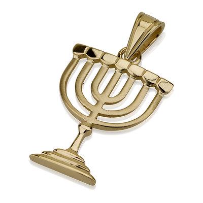 Menorah hangertje, 14K goud in prachtige vormgeving van Ben Sadya